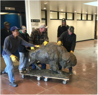 National Sculptors' Guild Fellow Sandy Scott's half-life sized bronze buffalo