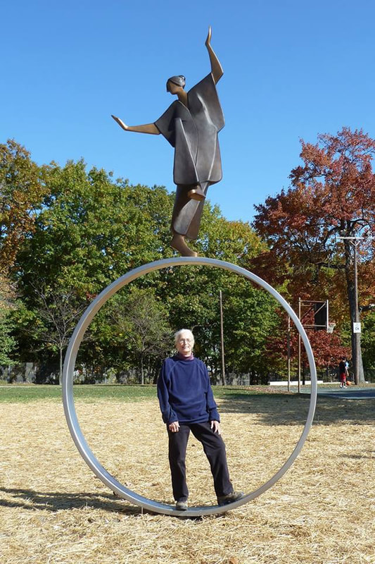 Carol Gold with her sculpture