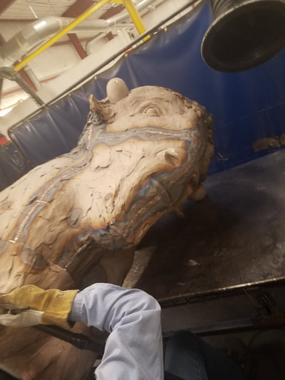 "12/20/17: Above are images of the casting at Art Castings of Colorado, that are metal chased back together and prepped for patina.  National Sculptors' Guild will install the bronze buffalo ""Silver and Gold"" by Denny Haskew  in Boulder at CU's new Admissions Building Spring 2018."