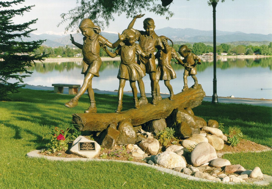 National Sculptors' Guild public art placement 6 Shortcut by Jane DeDecker in Lakewood, Colorado 1994 Bronze figurative kids on log