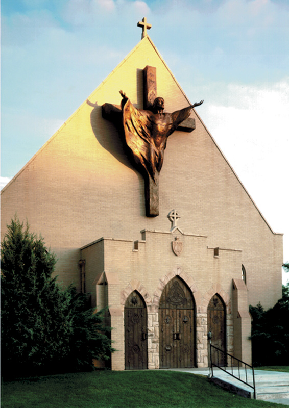 National Sculptors' Guild public art placement 8 Denny Haskew's 14ft tall Bronze High Relief Love and Forgiveness Trinity Episcopal Church facade, Greeley, Colorado 1994.