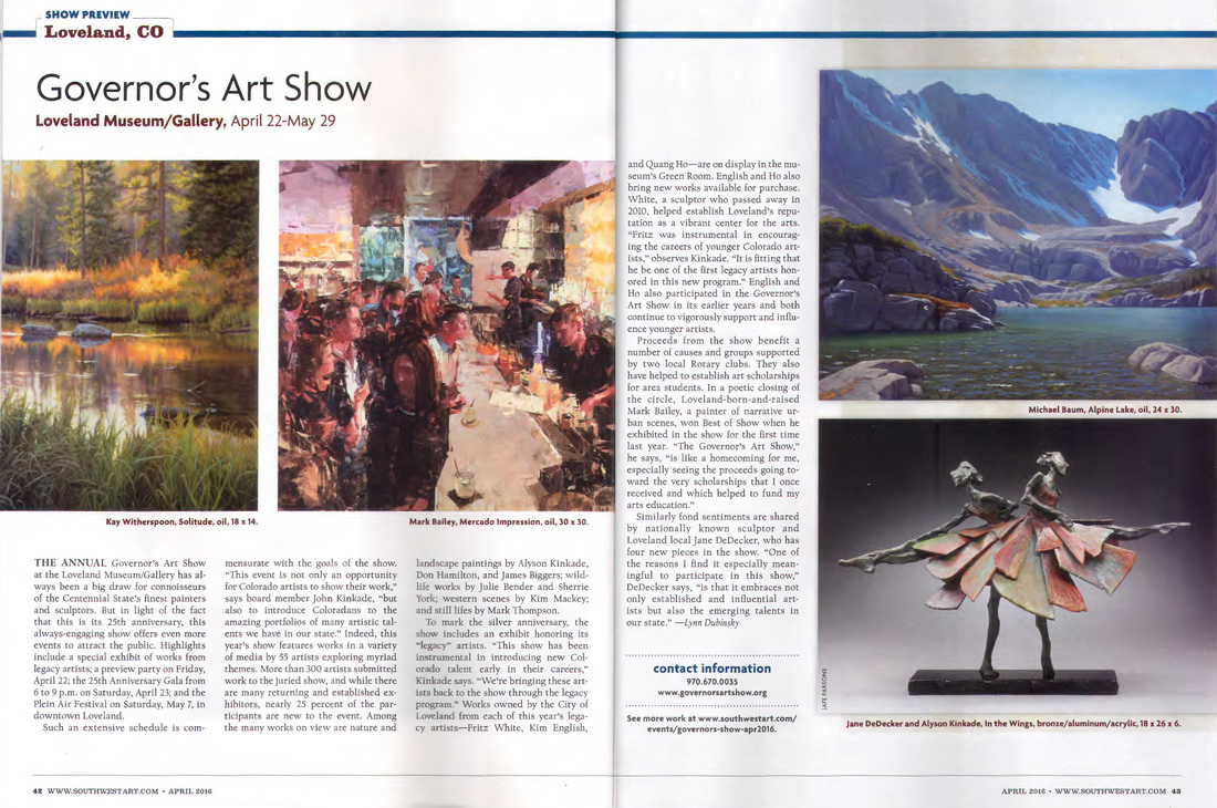 Southwest Art Magazine coverage of Loveland's Governor's Art Show John Kinkade, Columbine Gallery, JK Designs, National Sculptors' Guild Jane DeDecker, Alyson Kinkade, Quang Ho, Fritz White, Kim English