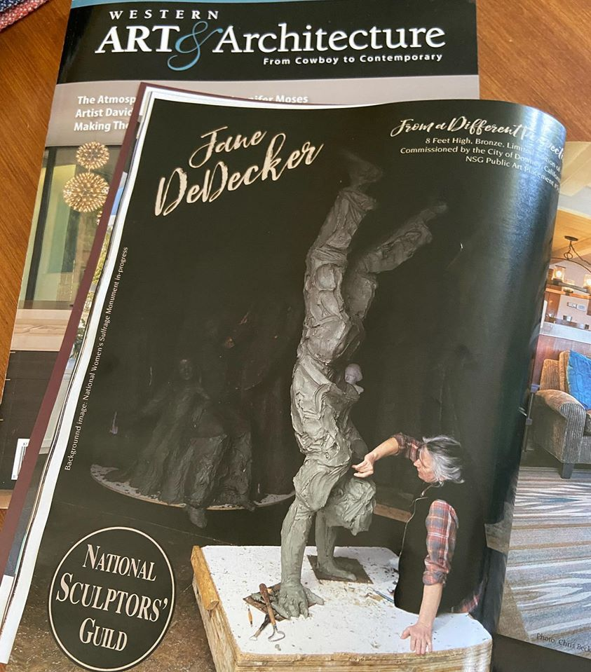 "Check out our ad in the latest Western Art and Architecture we are featuring Jane DeDecker sculpting ""From a Different Perspective"" which the National Sculptors' Guild will be placing in downtown Downey, California as soon as it is cast in bronze and we can safely install.  Commissioned by @cityofdowneyca the 8ft tall figure doing a handstand will be a fun addition to the city's growing public art collection that we are thrilled to be an integral part in starting.  Want one for your public art space or home garden or office lobby? The introductory price is available thru June... Shop Now  #JaneDeDecker #FromADifferentPerspective #NationalSculptorsGuild #PublicArt #DowneyCA #Bronze #Sculpture #NSG #Contemporary #Figurative #ArtistDriven #ClientMinded #FeedYourCreativeSpirit"