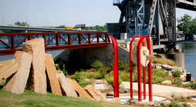 Public Art Portfolio National Sculptors' Guild and JK Designs Colorado's Largest Fine Art Source pictured: Denny Haskew's Native Knowledge at Little Rock Riverfront Park