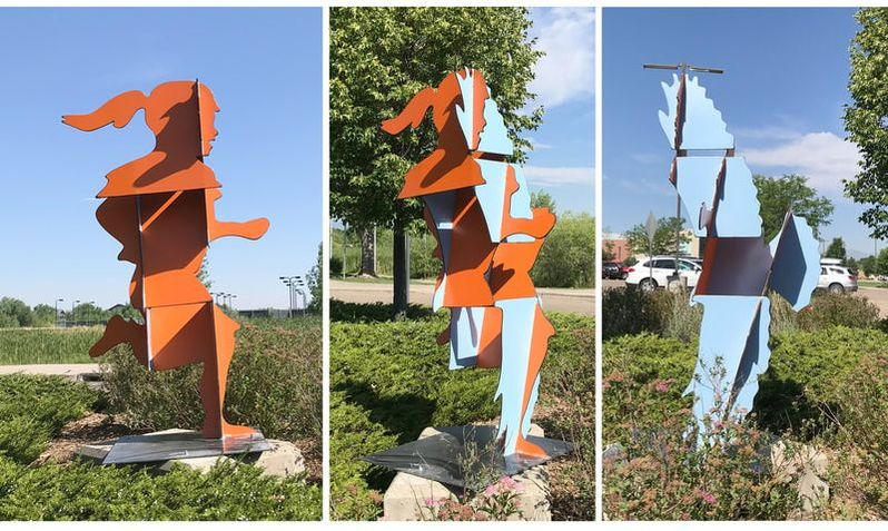 Joe Norman's latest public art project is in-the-works for Golden, Colorado, Installation is slated for Spring 2019, on hwy 93 across from the North Table Mountain trail head. Shown here are the latest scale prototypes and engineering drawings for the sculptures. The composition depicts three running children or a red-tailed hawk in flight depending on the viewed angle.  We're excited by Joe's diverse exploration of material and imaginative approach to varied subject matter. From word play, to morphing silhouettes; magnified microcosms to figurative renderings from reclaimed bicycle parts, Joe fills the public space with a bit more wonder through sophisticated form. His work  makes interaction unavoidable and we're pleased to add him to our team.  Smaller works are also available for the home collector. You'll start seeing his sculpture at Columbine Gallery and in the National Sculptors' Guild sculpture garden by mid-October, and can start ordering online now.... click here to shop