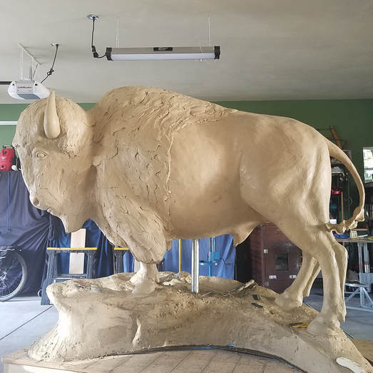 8/23/17: The clay has been approved and the buffalo is heading to Art Castings of Colorado to be cast in bronze.   National Sculptors' Guild will install the bronze buffalo