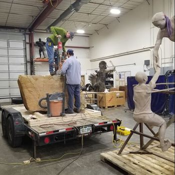 Update 11/14/2018: Our 500th Public Art Placement is going in this week! Stay tuned to our social media posts for updates. We're so excited that we're celebrating this moment in Loveland, CO where we've been headquartered since 1992. #FullCircle  Pictured to the left is the top stone being drilled at Art Castings of Colorado where the bronze was cast. The bronze is cast and ready for patina.   The other stone monoliths are being loaded to deliver to the site. The installation will take a couple of days of craning in 68 tons of stone. The bronze is scheduled to go in next Tuesday to finish it off.  ​​#ReachingOurGoal