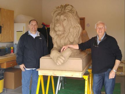 Herb Mignery has been making room for a lion. He recently moved out of a spacious studio thinking he wasn't going to sculpt monuments anymore - but then we called saying - we need a life-sized lion. Luckily he had room in his garage.  The lion is based on a maquette Herb sculpted a few years ago. When alumni Bill McLagan came into the gallery, he knew that was the piece to enlarge for The College of New Jersey's campus. Stay tuned to see updates and installation images... ​