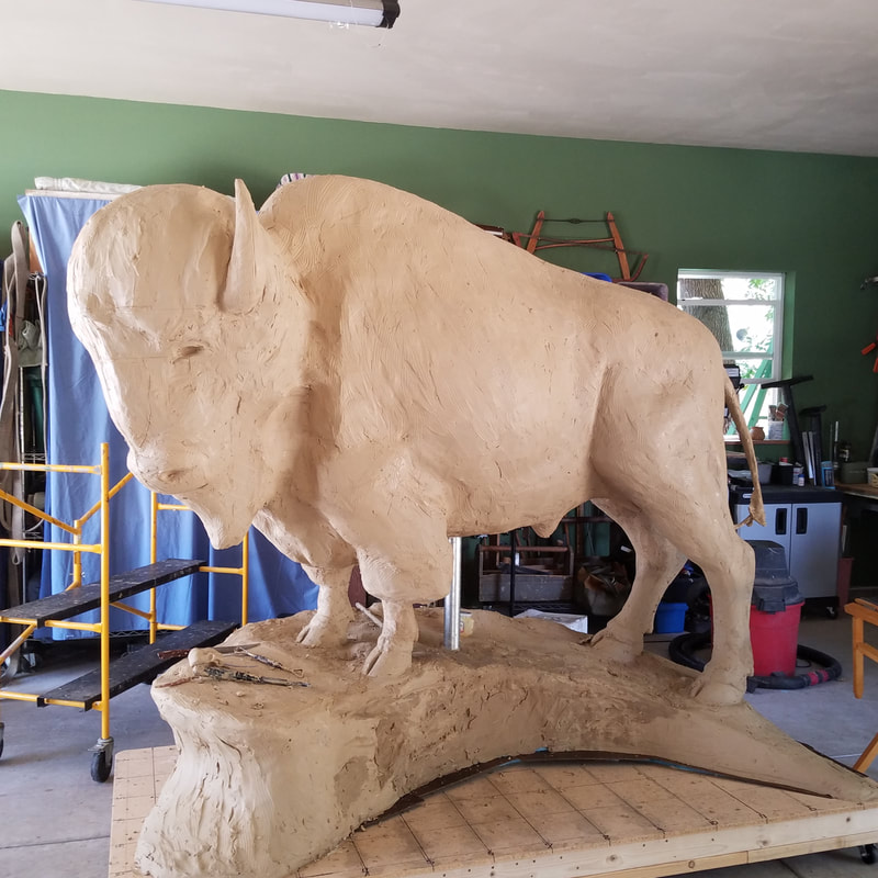 Denny Haskew National Sculptors Guild Buffalo Sculpture for CU Boulder 2017 7/28/17 : Denny Haskew's Buffalo enlargement