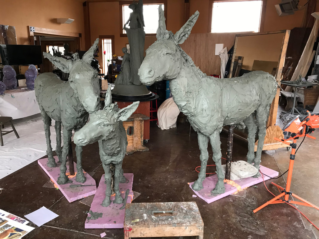 Update 2/20/2019: Jane has been busy adding clay to the armatures and the clay enlargement is nearly complete. They are coming to life and showing so much personality.  We are thrilled to have a new project with the City of Southlake. This time it's a fun homage to the burros that called the area being developed home: