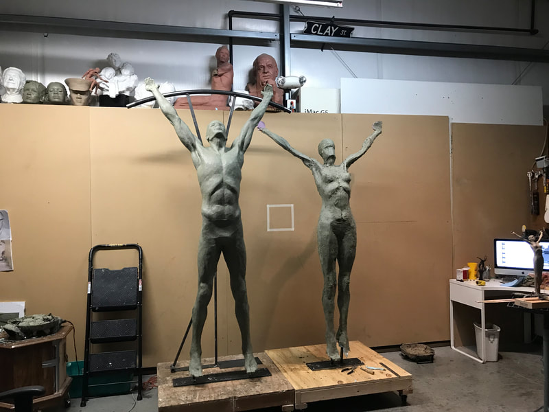 "Coming soon to Downey, California... ​""Tree of Life"" by Clay Enoch and the National Sculptors' Guild is in the finishing steps of bronze casting at Art Castings of Colorado.  This installation is part of a series of Public Art placements that the City has commissioned from the National Sculptors' Guild for installations in 2020. The bronze and stainless steel sculpture will be placed in a  the new fountain at the Theater Plaza.  Our design team began working on this project in March of 2019.  Measuring 12-feet tall and 14-feet in diameter, the tree composed of eight life-size bronze figures out stretched from a single column are united by the stainless steel rings they hold; this sculpture is among our most complex figurative monuments to date. We are so excited to see this significant art statement in place. We will update this post as soon as installation is set.  Progression of the project is shown below..."