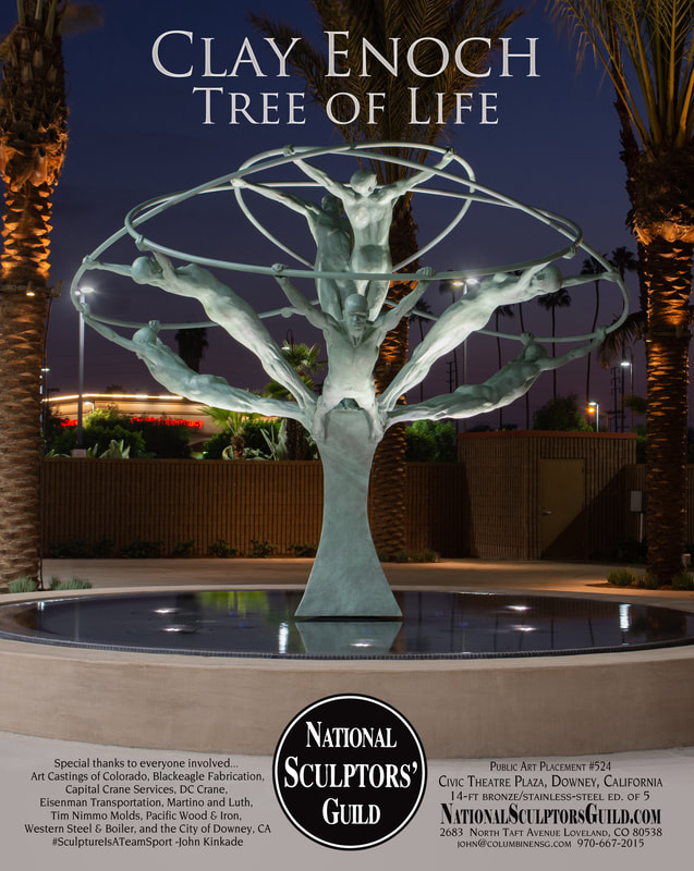 "Western Art and Architecture Ad: #SculptureIsATeam Sport #TreeOfLife #Clay Enoch #NationalSculptorsGuild #PublicARt Placement 524, A few more photos from our ""Tree of Life"" installation in California. ""Tree of Life"" by Clay Enoch and the National Sculptors' Guild is in its new home at the center of the new Downey Theatre Plaza fountain. The 14-foot bronze and stainless-steel sculpture features 8 life sized figures gracefully stretching out from a single column and united by huge intersecting rings.  NSG Public Art Placement 524 See more of the entire process here...  http://www.jk-designs-inc.com/.../tree-of-life-in-Downey-ca Special thanks to our Colorado and California team members! Tony Workman and the Art Castings of Colorado staff, Dennis Henderson of DC Crane, John Eisenman Transportation, Zach Pennington of Blackeagle Fabrication, Jim Lambert and Shippers' Supply, Western Steel, Russ Martino and Adam Granath of Martino & Luth, Josef Kekula and the City of Downey, Capital Crane, Andy Garza of Pacific Wood and Iron, and of course Clay Enoch and John Kinkade of the National Sculptors' Guild."