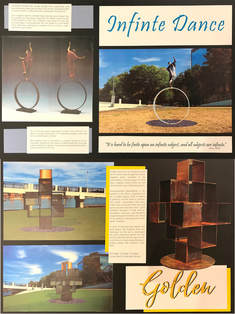 The next Sculpture at the River Market competition winner will be selected April 27th With 2 of the 3 finalists, we can't wait to see who Little Rock picks. Here are our entries... ​ Carol Gold's proposal is INFINITE DANCE, Inspiration springs from notions of equilibrium and transformation, ideas that are necessary for the sustained health of society The joyfully dancing figure represents the vibrant cultural scene of the Riverfront Park. The sculpture's ring shape ties into the curving bridges surrounding the site. The shape of a circle holds deep symbolism, referring to concepts such as: inclusion, unity, and wholeness.  Stephen Shachtman's GOLDEN becomes an interactive form as the viewer sees through the various negative space